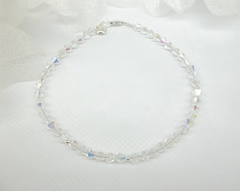 Clear Crystal Anklet Sterling Silver Heart Anklet Valentine Gift  Clear AB Crystal Ankle Bracelet Sterling Silver Jewelry BuyAny3+Get1Free