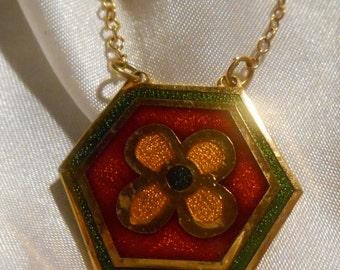 de Passille Sylvestre Modernist Enamel Six Sided Clover Pendant Necklace