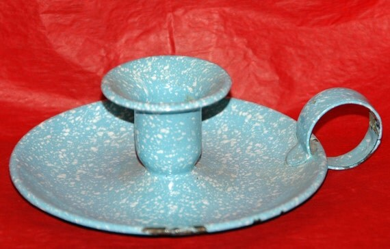 "Vintage BLUE Speckle ENAMELWARE (Graniteware) CANDLE Holder W/ White Speckle, 5"" x 1 3/4"" T + Handle In 'as found' Condition,"