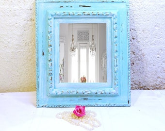 Blue Mirror Large Vintage Shabby Mirror Ornate Hand Painted Robins Egg Blue and White