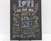 """15""""x20"""" art board, My First Year chalkboard style custom ink drawing, the original Favorite Things Poster™"""