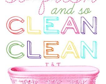 8x10 So Fresh and So Clean bathroom art print: choose your own colors