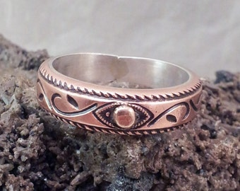 Copper Ring with Sterling Lining and Gold Accent Handmade