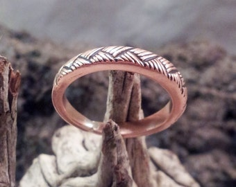 Copper Ladies Ring Handmade with Fine Basketweave Design
