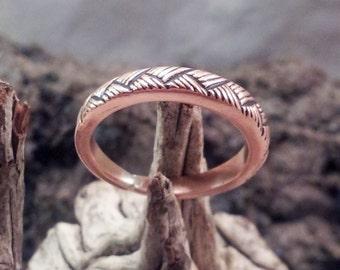 Copper Ladies Ring Handmade with Fine Basketweave Design