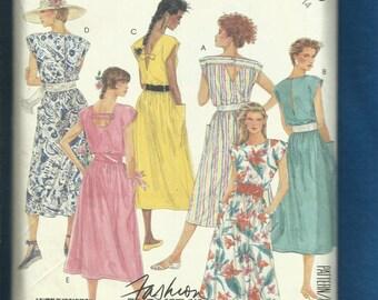 Vintage 1987 McCalls 3075 Easy Breezy Cap Sleeve Sun Dresses  Size 14