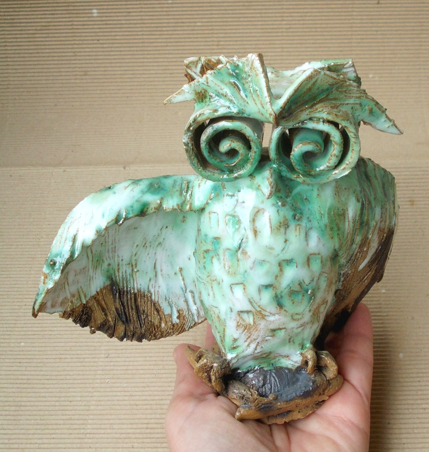 Cute Wise Owl Home Decor Owl Ceramic Sculpture Fan Art