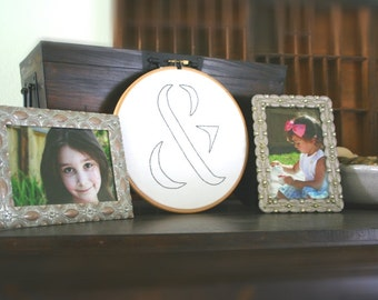 Gray ampersand hand embroidered hoop art / white background / 8 inch size hoop / industrial typography