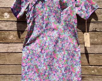 1960's Pretty Pastel Asian Collar Mini Dress
