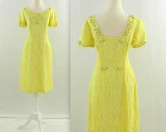 Limoncello Lace Dress - Vintage 1960s Lemon Yellow Beaded Dress w/ Train - Small by Perfect Junior