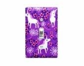 Unicorn Light Switch Plate Cover / Girls Kids Room / Pink Purple / Timeless Treasures Pretty Unicorns Lilac
