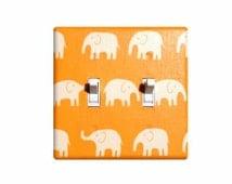 Orange Elephant DOUBLE Light Switch Plate Cover / Baby Boy Safari Nursery Decor / Kids Room