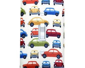 Car Light Switch Plate Cover / Retro Cars Baby Boy Nursery Decor / Andover