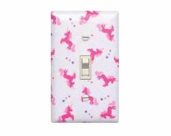 Unicorn Light Switch Plate Cover / Pink Girls Room Bedroom Bathroom / Baby Magic Fantasy Princess Nursery Decor
