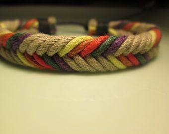 bracelet  new HANDMADE woven SAND -primary colors  right on for summer surf