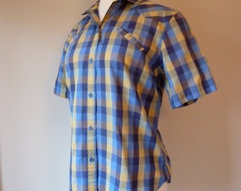 70's Women's Levi's Shirt Plaid Western Pockets Work Button Down Blouse L