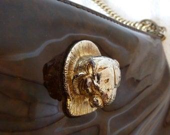 70's Ruth Saltz Cougar Handbag Glossy Patent Leather Golden Chain Hinge Closure Purse