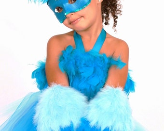 READY TO SHIP:  Jungle Jewel - Blue Macaw Feather Bird Mask - Turquoise Blue - Halloween Costume Accessory Fits toddler to adult