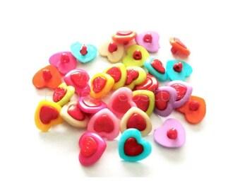 Hearts buttons, Set of 20 pieces, Plastic button