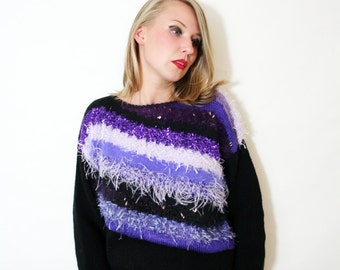 Vintage Hand Knit Fuzzy Striped Sweater Chunky Textured Knit Top