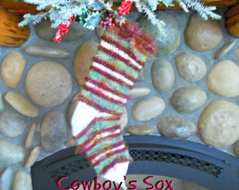 Hand Knit Mens Western Christmas Stocking, Cowboy's Sox