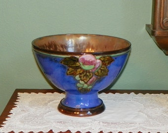 Antique Royal Doulton Stoneware footed BOWL serving Punch Large Blue Brown Grapes England