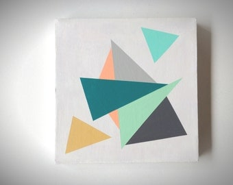 Abstract 1169 | Triangles IV | Original Fine Art by Crystal Henson | Minimal 10 x 10 Geometric Acrylic Painting FREE domestic SHIPPING