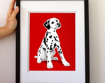 Dalmatian Dog Art Print, fire truck dog art decor, puppy dog nursery childrens art print, baby boy room decor dog art by Paper Llamas