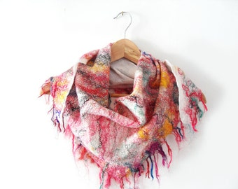 Luxury Triangle Scarf Shawl Wrap Felted Wool and Sari Silk  Wool Fashion gift for her ready to ship