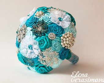 Brooch Bouquet. Turquoise Ivory Fabric Bouquet, Unique Wedding Bridal Bouquet