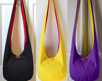 MADE TO ORDER Hobo Bag Crossbody Bag Sling Bag Solid Color Hobo Purse Slouch Purse Slouchy Bag Boho Bag Hippie Purse Handmade Purse