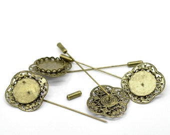 SALE Brooch Pins with Cabochon Settings - Bronze - Holds 20mm - 83x32mm - 3pcs - Ships IMMEDIATELY from California - A247