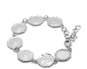 Cabochon Setting Bracelet Silver Frame Link Connector - 7 1/2 Inch (Holds 14mm)  - Ships IMMEDIATELY  from California - CH250