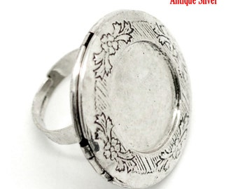 Silver Locket Ring for Photo Filigree Carved Adjustable  - Holds 24mm - 2pcs -  Ships Immediately from California - A277