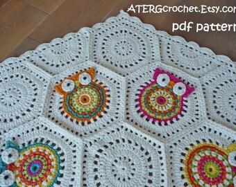 Crochet pattern owl hexagon by ATERGcrochet