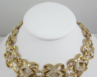 Classy Vintage Clear Rhinestones and Gold Tone Big Links Necklace