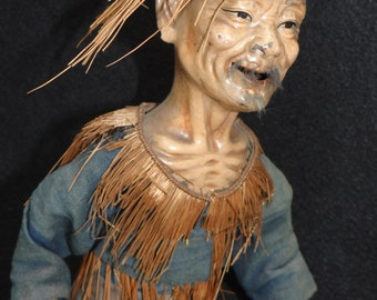 Antique Chinese Folk Art, Large 15 Inch Hand Carved Wooden Farmer