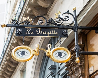 Paris Photography, Ornate Shop Sign, La Brigitte, Travel Fine Art Photograph, Large Wall Art, French Wall Decor