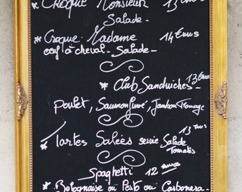 Paris Kitchen Photograph, Chalkboard Menu, French Cafe Travel Photograph, Kitchen Decor, Large Wall Art