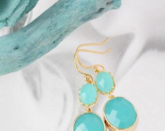 Aqua Earrings, Turquoise Earrings, Blue Earrings, December Birthstone Earrings