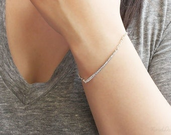 Thin Silver Bracelet, Cubic Zirconia Bracelet, Simple Silver bracelet, Everyday Jewelry