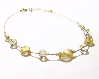 Murano Glass Clear Gold Twist Necklace, Illusion Necklace, Venetian Jewelry, Italian Jewellery