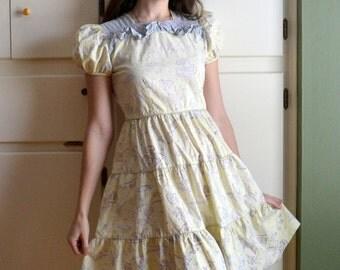 50's Ruffle Dress / Yellow Lavender Novelty Print Juniors