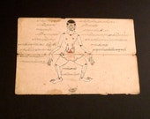 Siamese Acupuncture Points Drawing Vintage Antique Original 19th or 20th Century Thailand Holistic Medical Chart Text Illustration Folk Art