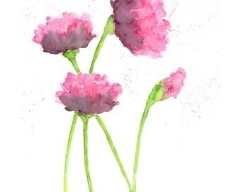Watercolor painting, nursery room flowers, baby nursery flowers, little girl's room, flower painting, abstract flowers, flower art, 5X7