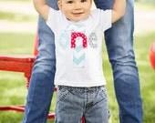 First Birthday Shirt Chevron Boys  ONE 1st Shirt One or Onesie aqua red gray  gift photo prop modern