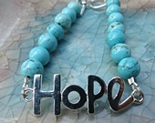 Turquoise HOPE Quote Inspirational Bracelet