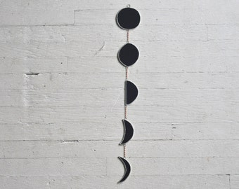 Dark Side Half Moon Phase Garland - large - black stained glass moon phase - celestial - black moon - glass moon - eco friendly