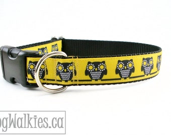 "Owls in Moonlight Dog Collar - 1"" (25 mm) Wide - Choice of style and size - Martingale or Quick Release // Yellow // Black // Freesia"