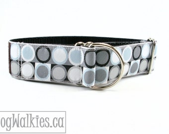 """Sliver Blue and Grey Contemporary Circles // 1.5"""" (38mm) Wide Dog Collar // Martingale or Side Release // Choice of collar style and size"""